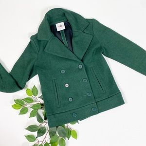 Cabi Forest Green Pea Coat Double Breasted Sweater